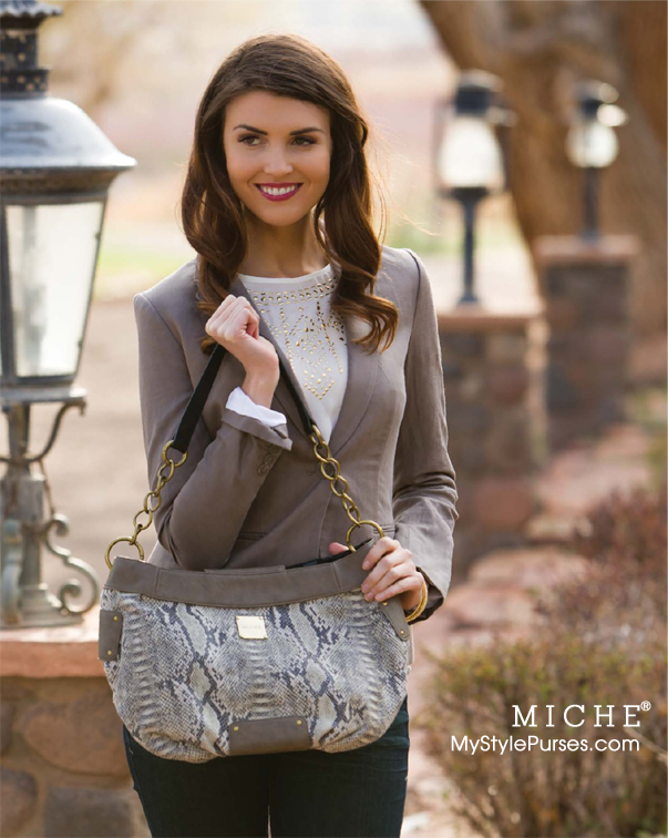 Miche Renae Demi Shell:  Taupe and Tan Snakeskin Purse