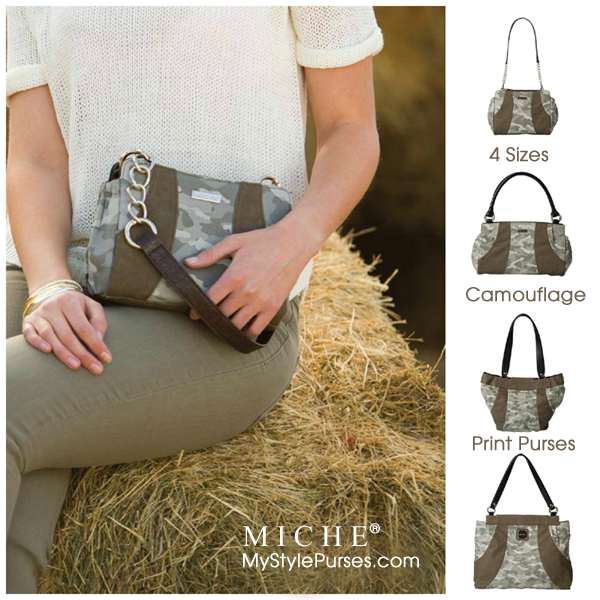Camouflage Purses in 4 sizes: Petite, Classic, Demi and Prima Bags from Miche at MyStylePursesShop.com