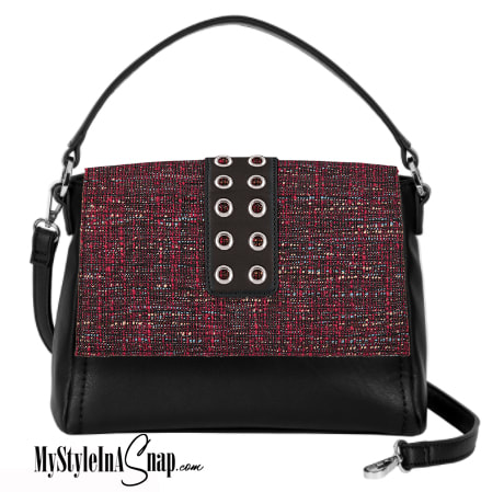 The VERSA Signature Handbag brings updated style and a new look to the Miche Bag patents. Harper Accent in red and black or teal and black. Come see them all! 36 looks in the introductory collection! MyStylePurses.com